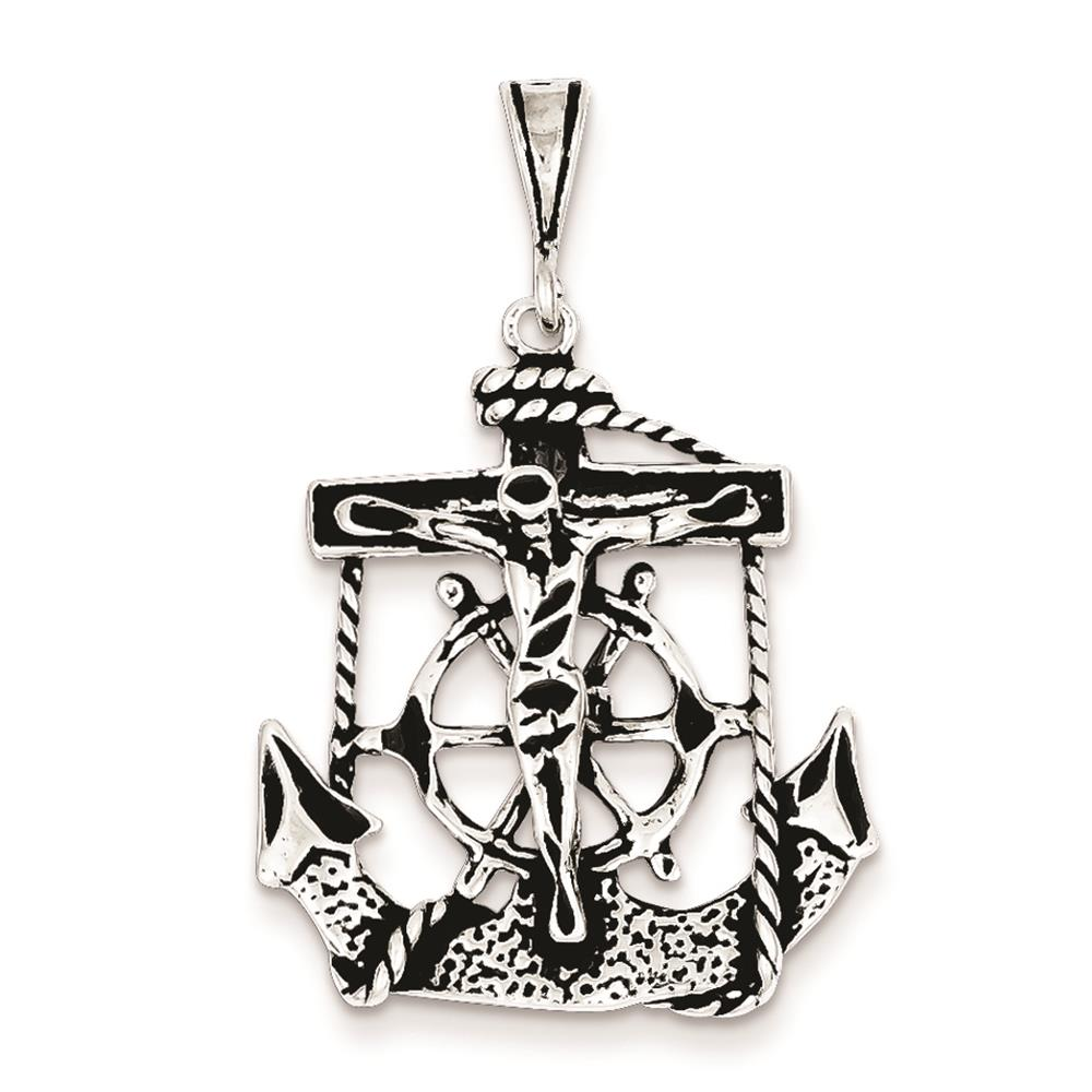 925 Sterling Silver 3-D Antiqued Mariner Crucifix Polished Charm Pendant