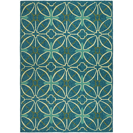 Couristan Fresco Netherlands Hooked Indoor/Outdoor Rug, Aqua and Blue, Multiple Sizes