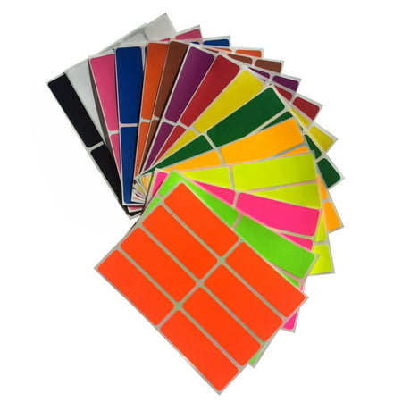 Rectangle Embossed Labels (Colored Label sticker rectangle in 15 colors 1 x 3 inch writable labels - 120 Pack by Royal Green …)