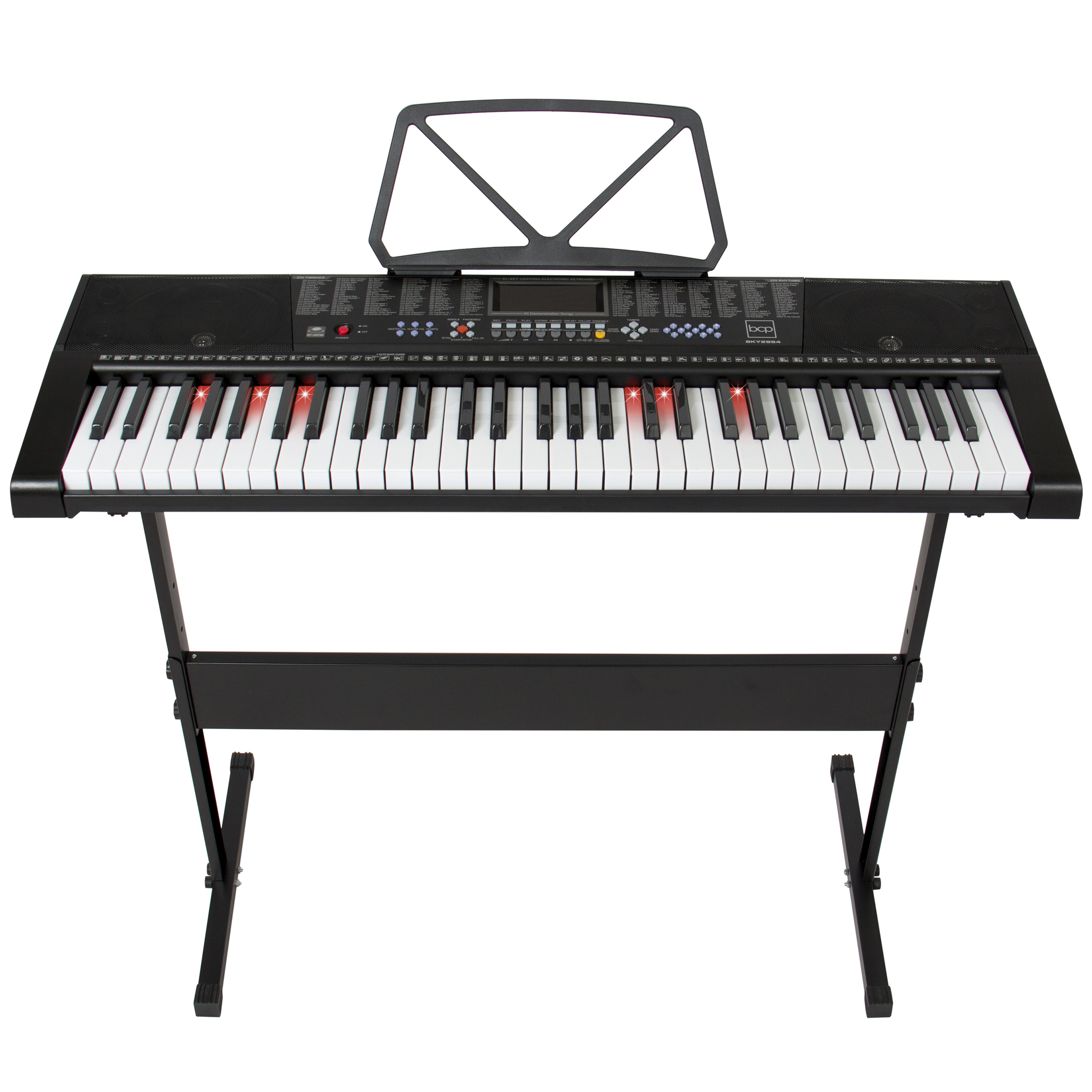 Best Choice Products Teaching Electronic Keyboard Piano Set 61 Lighted Keys LED Screen W/ Adjustable H Stand, Black