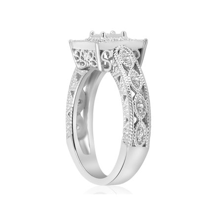 1/10ct Vintage Diamond Ring Silver Engagement Anniversary Antique Deco Jewelry - image 2 of 4
