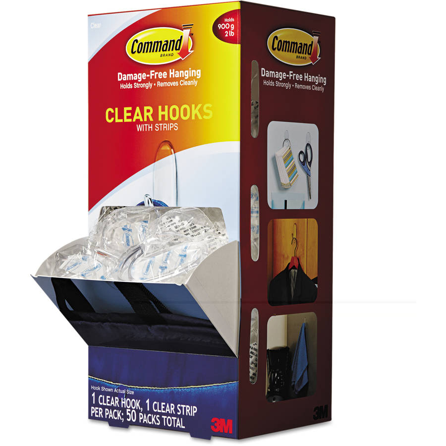 Command Clear Hooks and Strips, Plastic, Medium, 50 Hooks with 50 Adhesive Strips per Carton