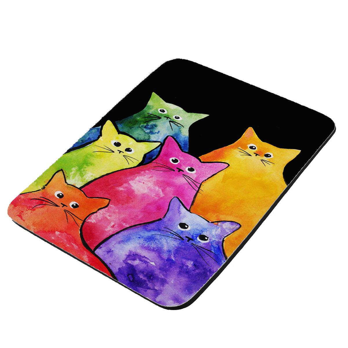 Colorful Tie-Dyed Kitties Art by Denise Every - KuzmarK Mousepad / Hot Pad / Trivet