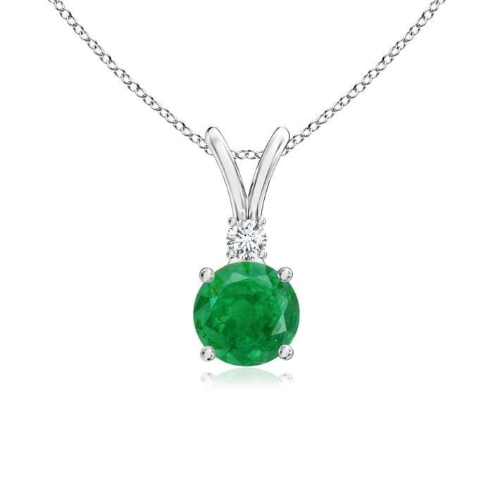 Angara Round Emerald Solitaire Pendant for Women in Platinum QUUFyTAwtB