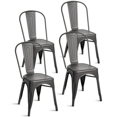 Merax Indoor Outdoor Use Metal Stackable Dining Chairs Set Of 4