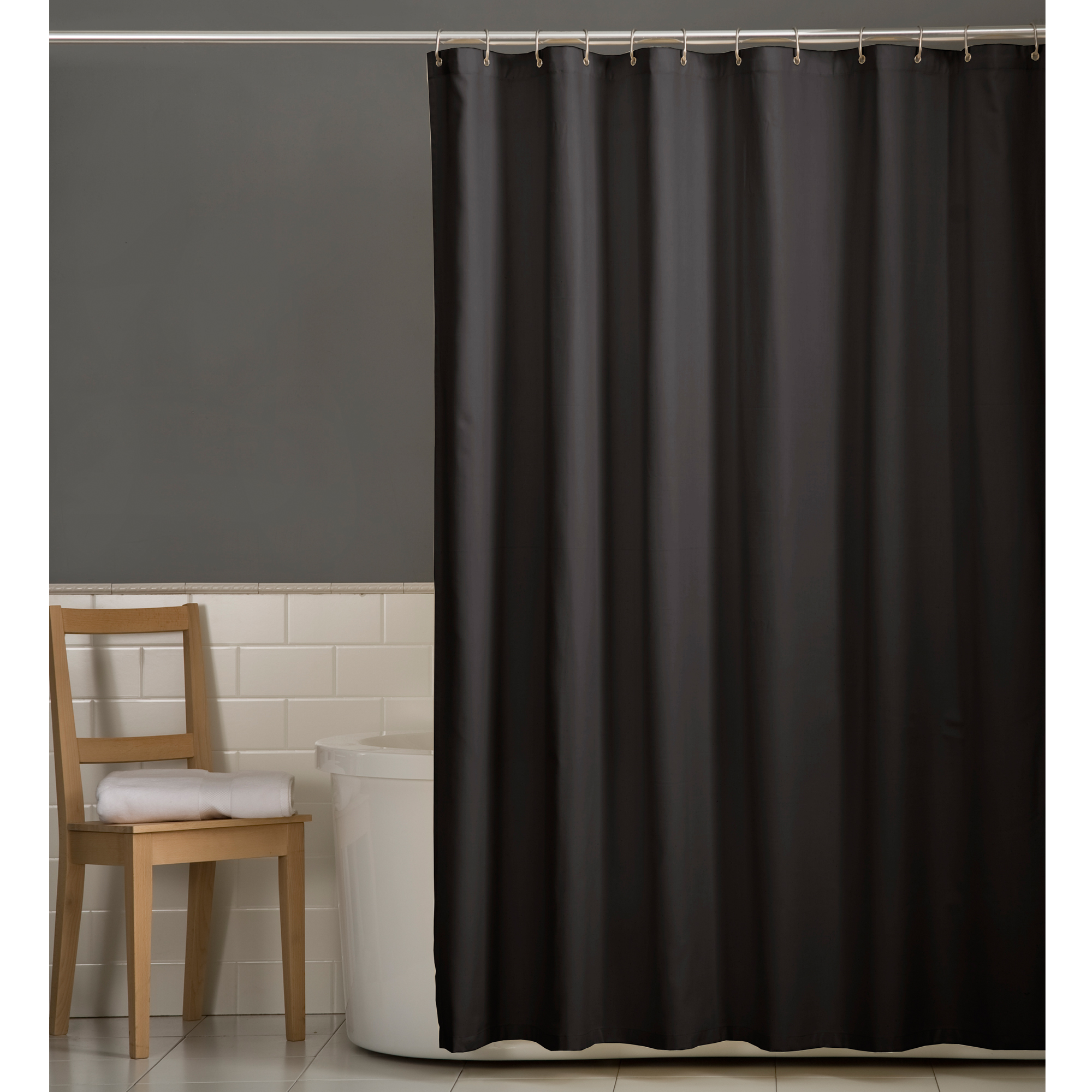 Maytex Water Repellent Microfiber Fabric Shower Curtain Or