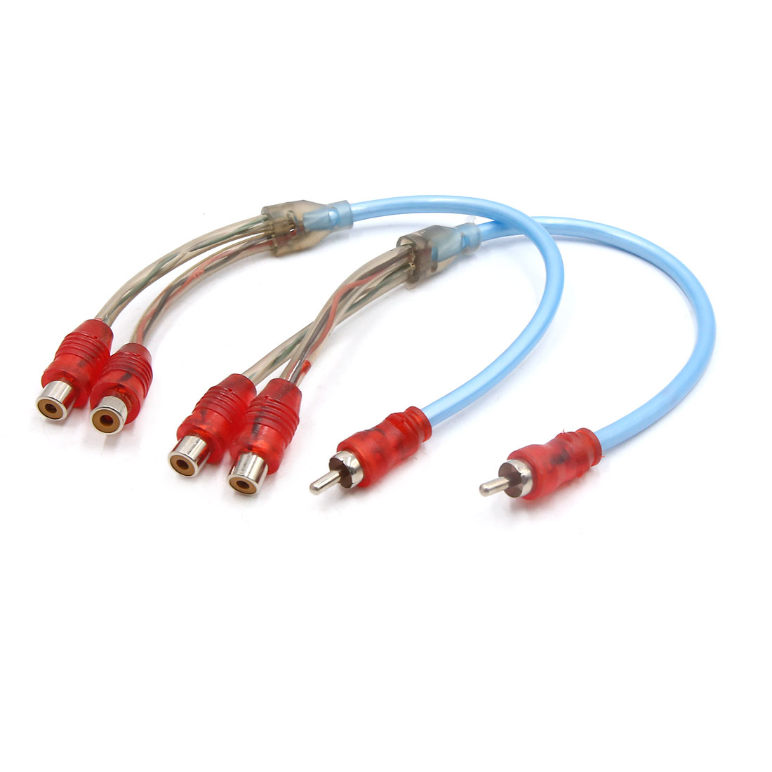 2pcs 32cm Length Male to 2 Female Car Audio Cord Cable Adapter Splitter Blue