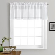 Solid Pure White Sheer Voile Window Curtain In 18
