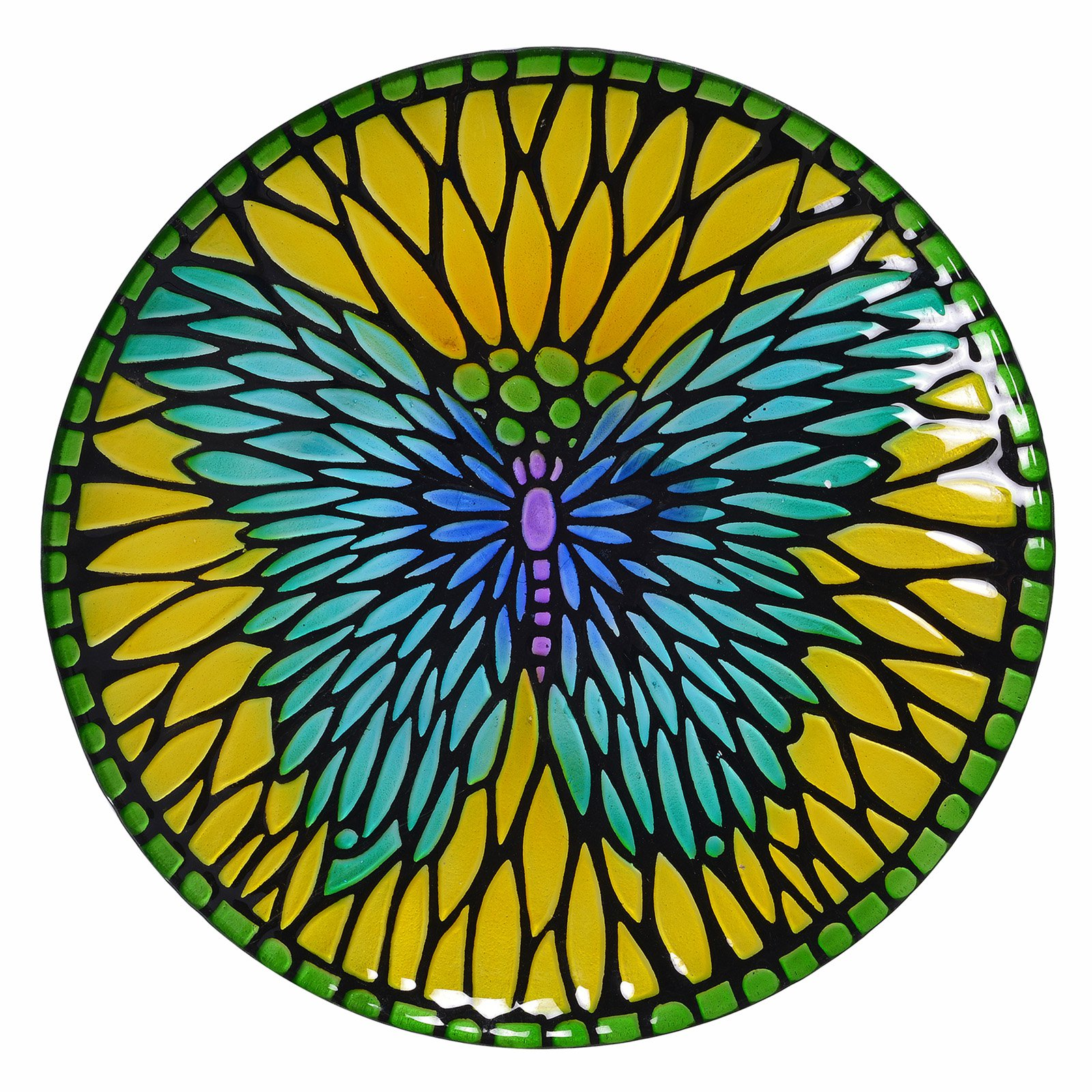Peaktop Outdoor 18 in. Mosaic Fusion Glass Birdbath with Stand by