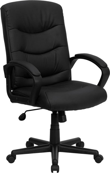 Mid Back Black Leather Swivel Task Chair With Arms   GO 977 1