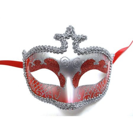 Red Silver Glitter Venetian Masquerade Costume Mask Halloween New Years Party (All Year Halloween Store)