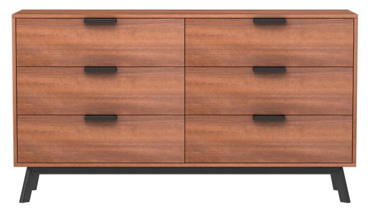 mainstays mid century modern 6 drawers dresser in vintage umber finish image 2 of 4