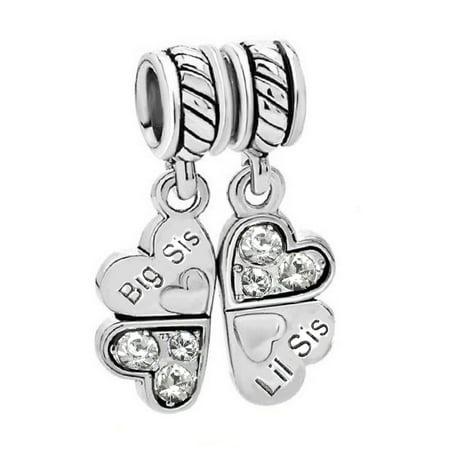 Sterling Silver Big Sister Charm (Sterling Silver Rhinestone 'Big Sis Little Sis Love' Heart European Bead Charm Fits)
