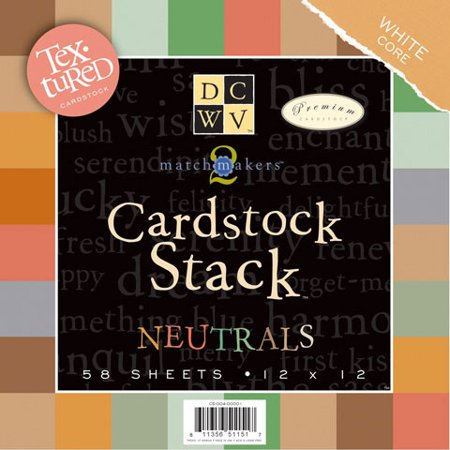 Cardstock Stack Neutral 12X12 58Sh Textured With White Core
