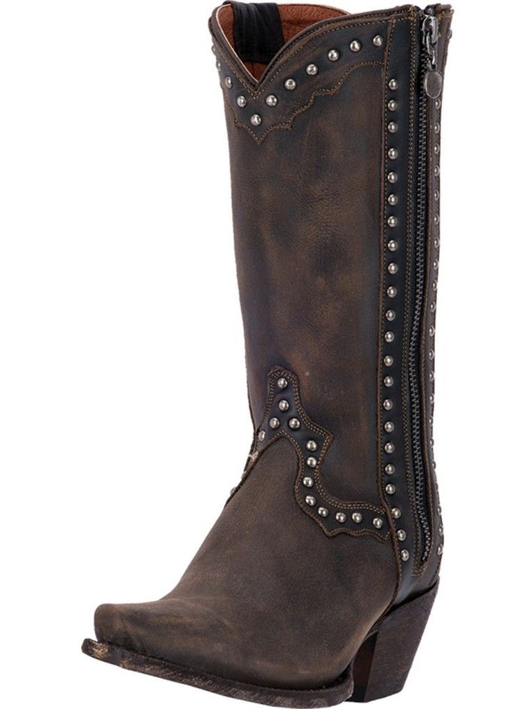 "Dan Post Western Boots Womens 11"" Cowboy Heel Studs Brown DP3637"