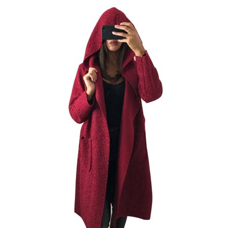 Hooded Midi Long Coat+Belt Women Winter Hoodies Woolen Coats Oversized Loose Hoody Jacket Open Front Pockets Cardigan Wool Belt Tie Coat Jacket