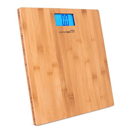 internets best bamboo digital body weight bathroom scale | bathroom accessories | real bamboo | eco friendly | wood dcor | blue lcd backlight | 400 lbs. weight