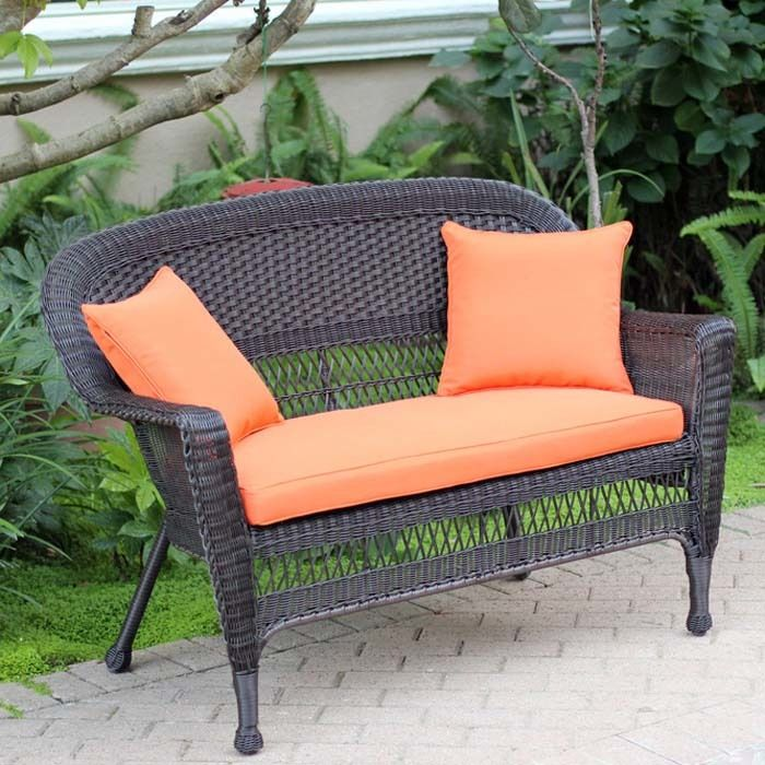 Jeco W00205-L-FS016-CL Honey Wicker Patio Love Seat With Orange Cushion And Pillows
