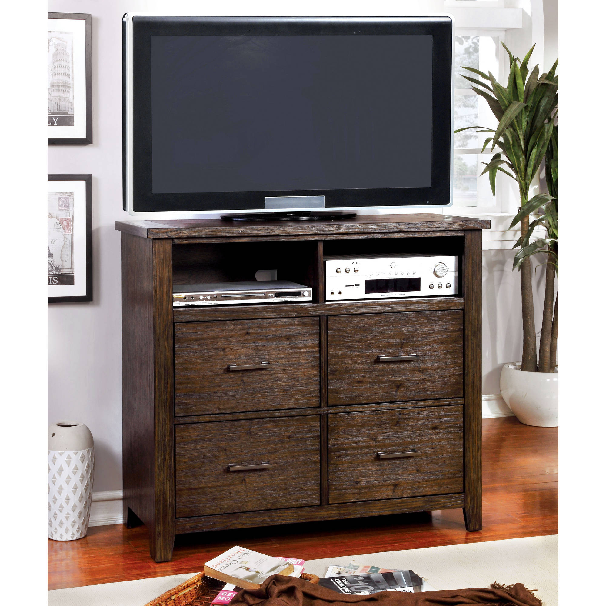 Furniture of America Raylene Rustic Media Chest, Dark Walnut