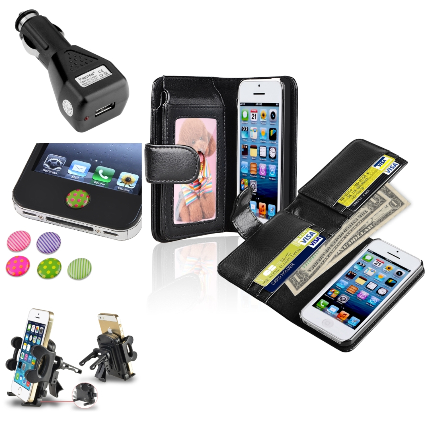 Insten Black Wallet Leather Case with Card Slot Vent Phone Mount Charger Sticker For Apple iPhone 5C