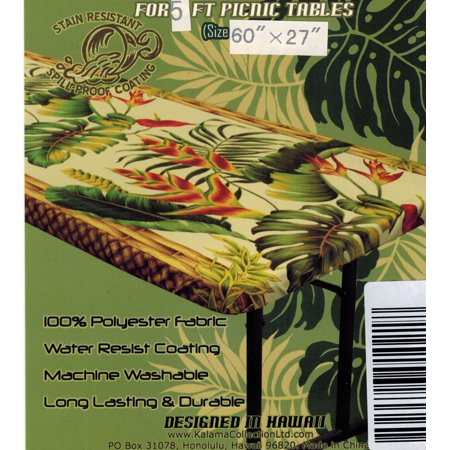 Hawaiian Tropical Flower fitted Tablecloth cover (Fits 5 feet picnic tables 60x27