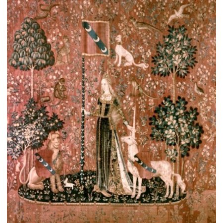 Lady And The Unicorn   Sense Of Touch 15Th Century Tapestry Musee National Du Moyen Age Thermes   Hotel De Cluny Paris France Poster Print