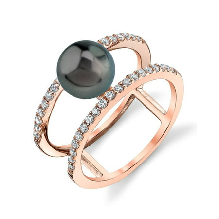 1efcd225a01 The Pearl Source - 8mm Tahitian South Sea Cultured Pearl Rose Gold Plated Luna  Ring - Walmart.com