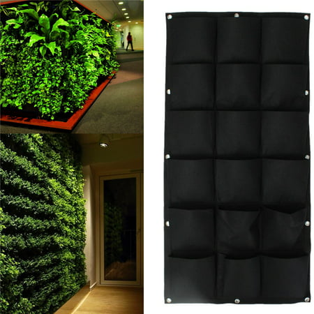 Image of Black/Green 18 Pockets Hanging Bag Garden Wall Hanging Vertical Planters Planting Pouch Basket Home Gardening Decoration