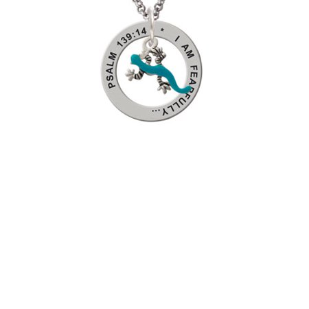 - Silvertone Small Teal Lizard Psalm 139:14 Affirmation Ring Necklace