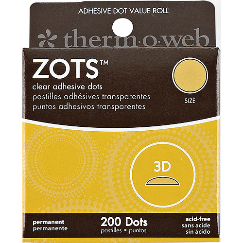 "Zots Clear Adhesive Dots Value Pack Box, 3-D, 1/2"" x 1/8"" Thick, 200pc"