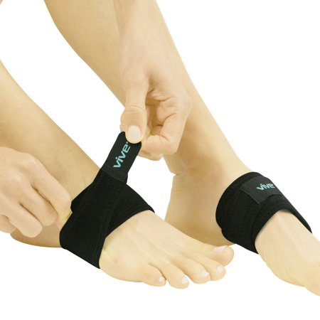 Foot Gloves Shoes - Vive Arch Support Brace (Pair) - Plantar Fasciitis Gel Strap for Men, Woman - Orthotic Compression Support Wrap Aids Foot Pain, High Arches, Flat Feet, Heel Fatigue - Insert for Under Socks and Shoes