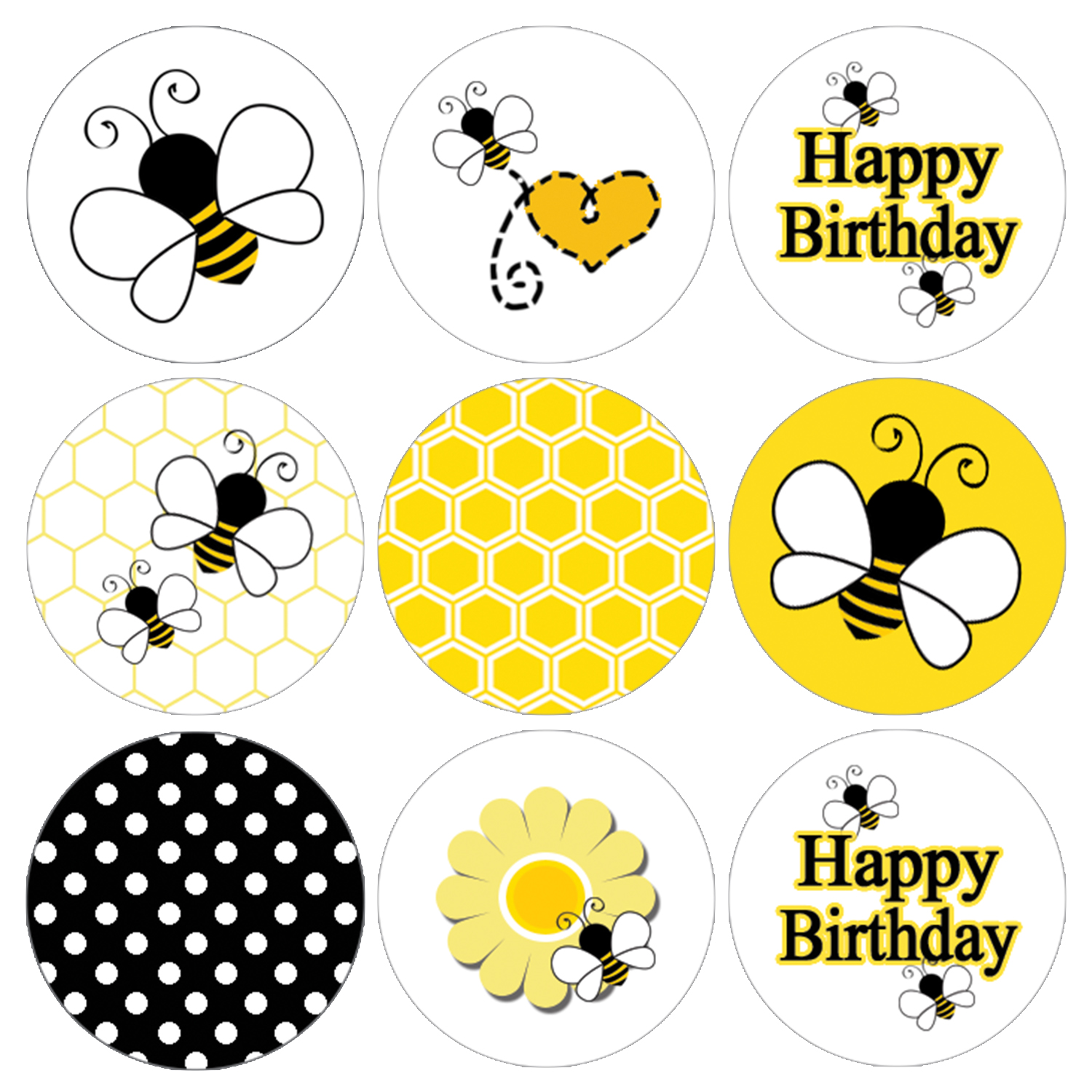 Bee Birthday Party Favor Stickers, 216ct - Bumble Bee Party Theme Decorations Supplies Bee Birthday Candy Favors - 216 Count Stickers