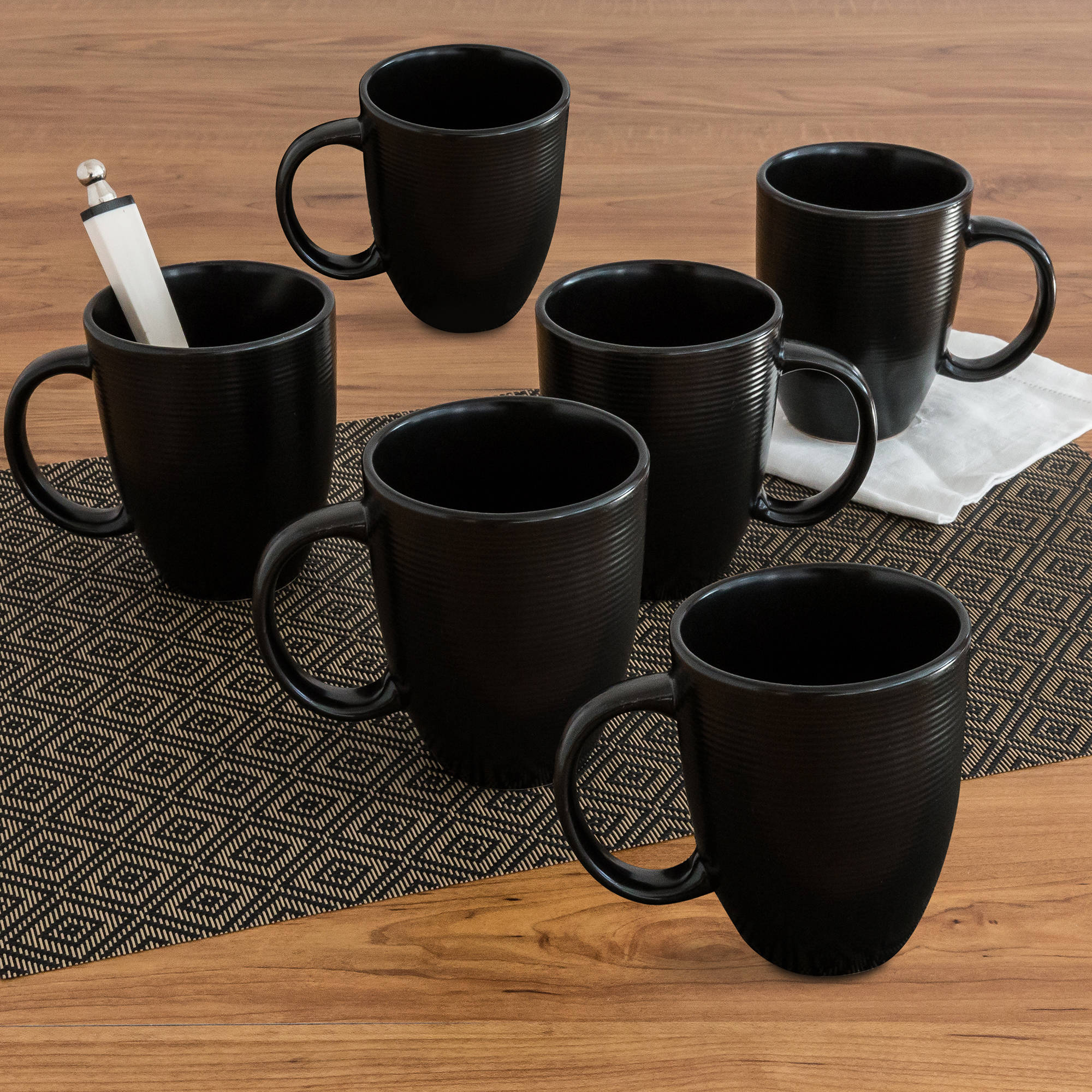 Better Homes and Gardens Matte Swirl Mugs, Black, Set of 6 by
