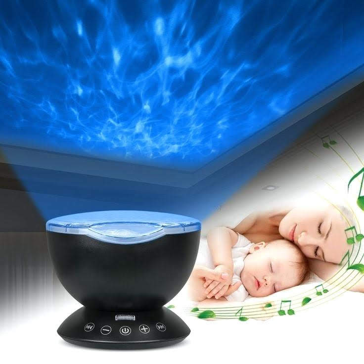 Ocean Wave Projector Night Light, Built-in Mini Relaxing Music Speaker, Remote Control, 12 LED & 7 Colors Changing Modes for Kids Adult Living Room and Bedroom