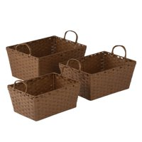Honey Can Do Paper Rope Basket with Handles, Multicolor (Pack of 3)