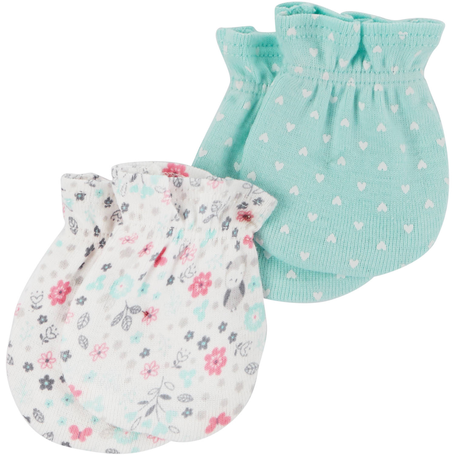Child of Mine by Carter's Newborn Baby Girl 2 Pack Mitten Set
