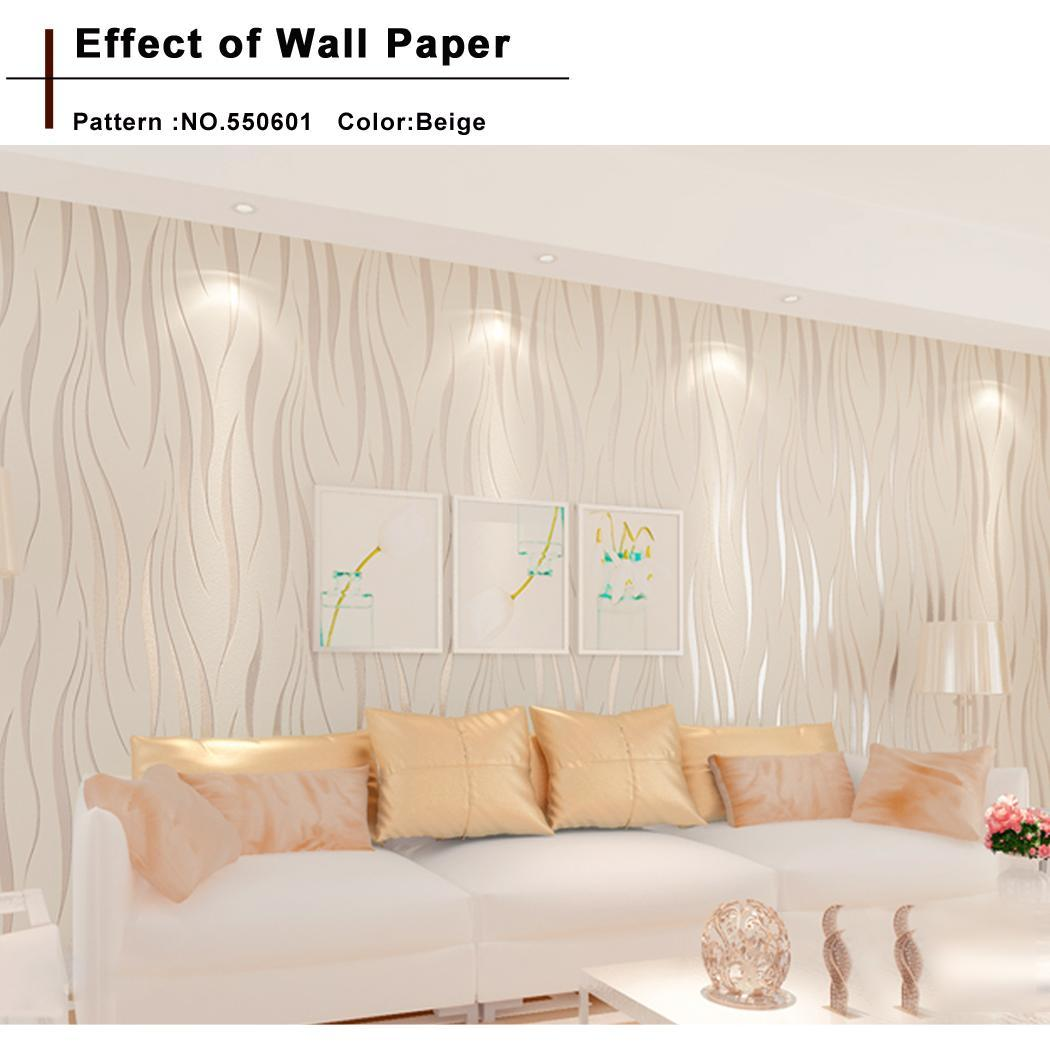 Elecmall 10m Non-woven 3D Wave Flocking Rolls Wallpaper Home Wall Decor