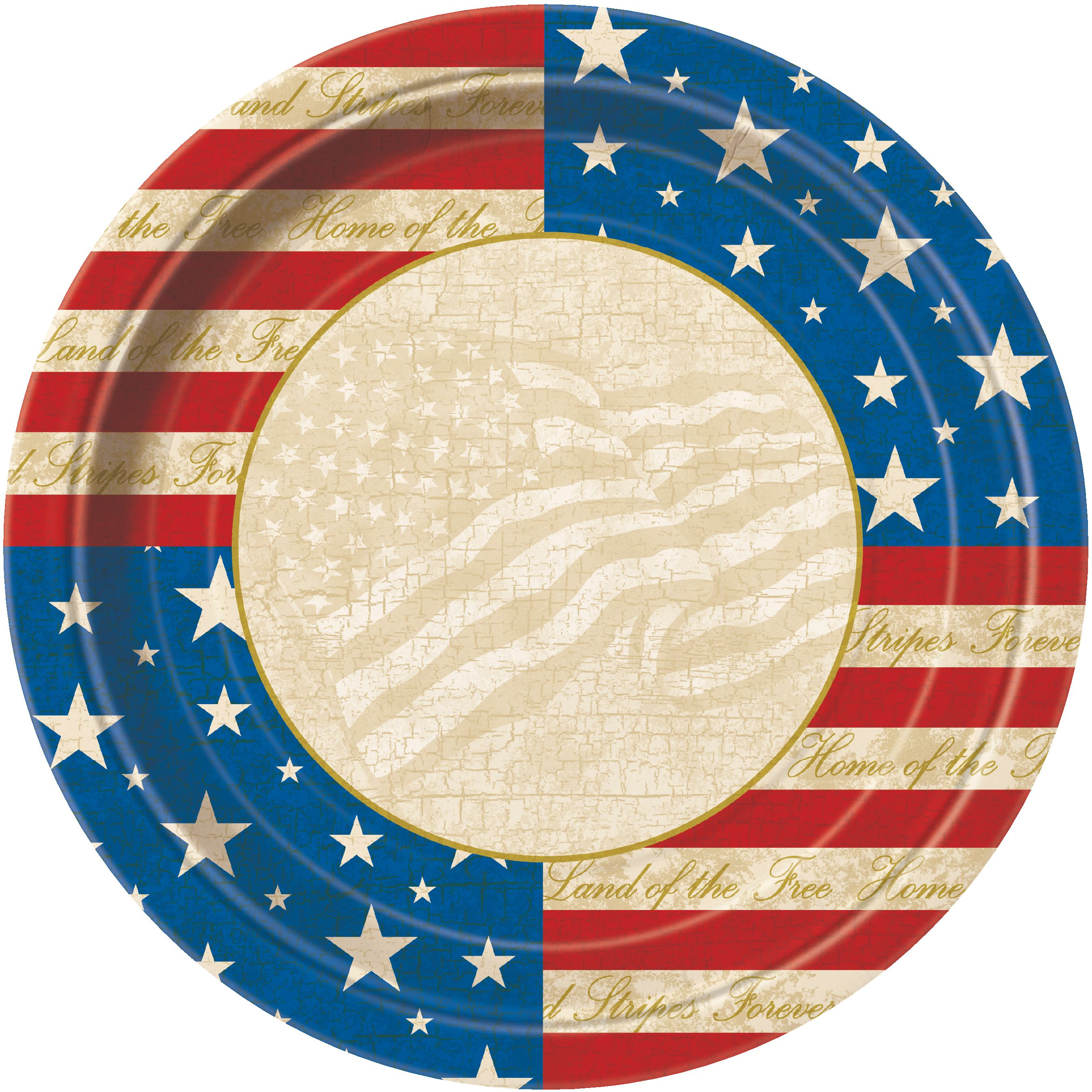 "Unique USA Party Vintage Patriotic 9"" Dinner Plates, Red Blue Tan, 8 Pack"