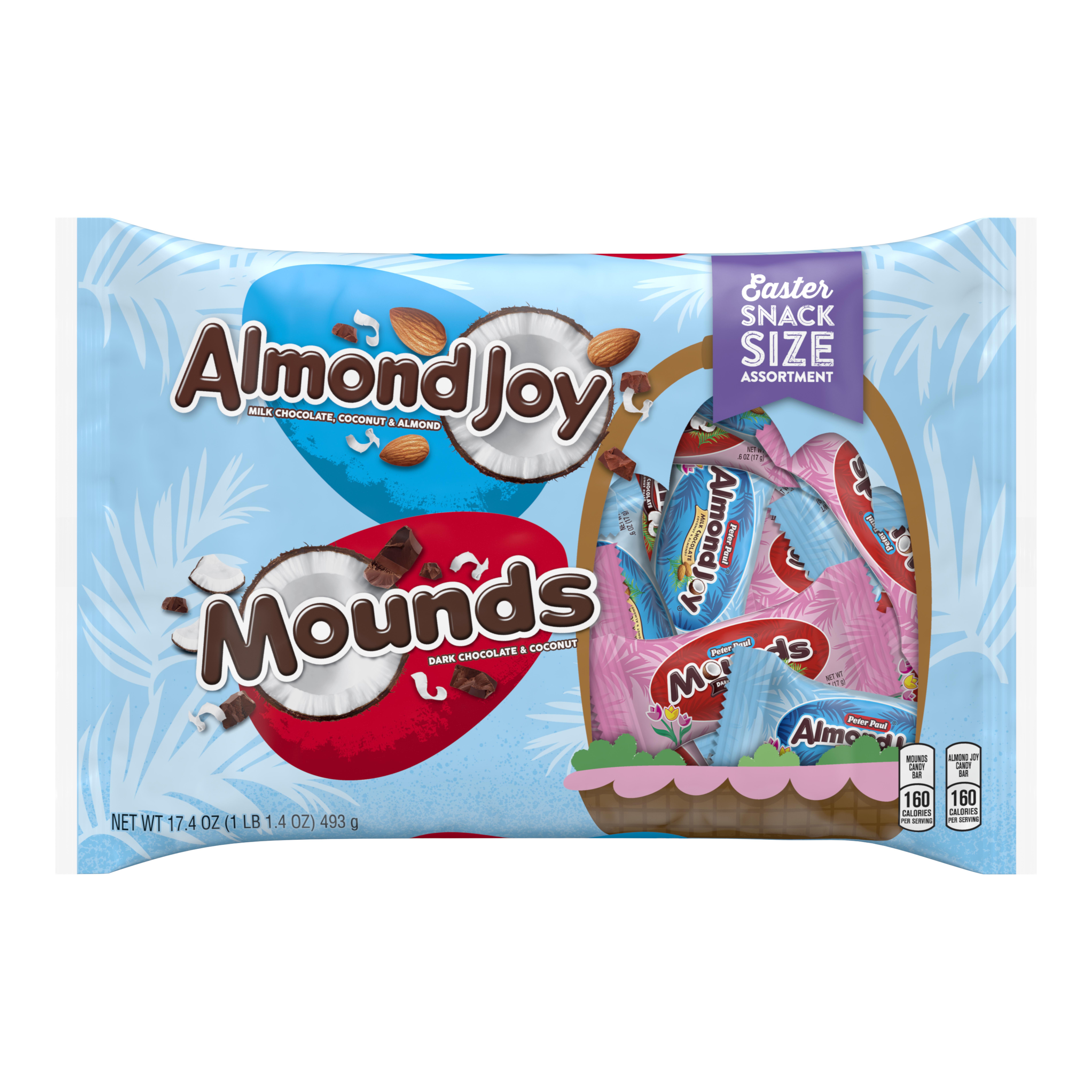 Mounds & Almond Joy, Chocolate Candy Snack Size, 17.4 Oz