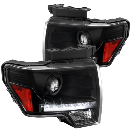Spec-D Tuning For 2009-2014 Ford F150 Black Led Projector Headlights Head Lamps W/ Bulbs 2009 2010 2011 2012 2013 2014