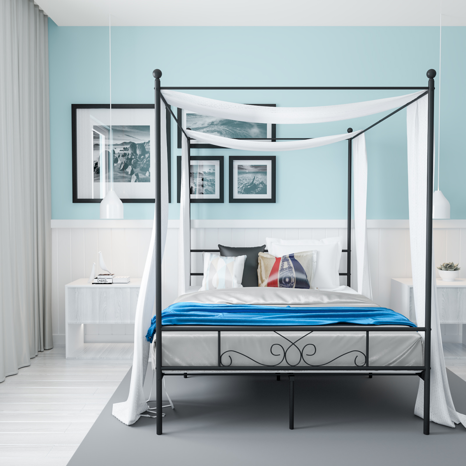Teraves Metal Canopy Bed With Slats Queen Black Walmart Com Walmart Com