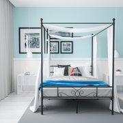 Teraves 4-Post Steel Queen Size Balck Canopy Bed Platform Frame with Ball Design ,Slats