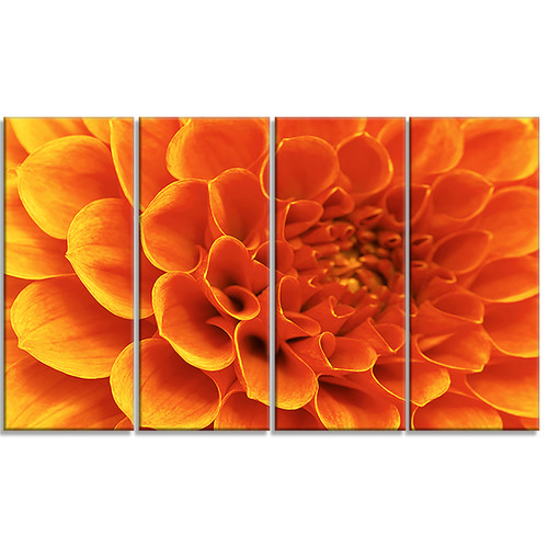 Design Art 'Large Orange Flower and Petals' 4 Piece Graphic Art on Wrapped Canvas Set