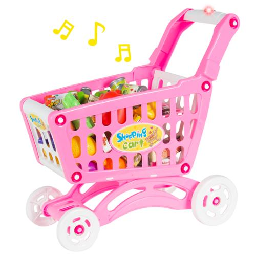 Musical Shopping Cart Pretend Play Toy With Food Fruits Vegetables and Lights
