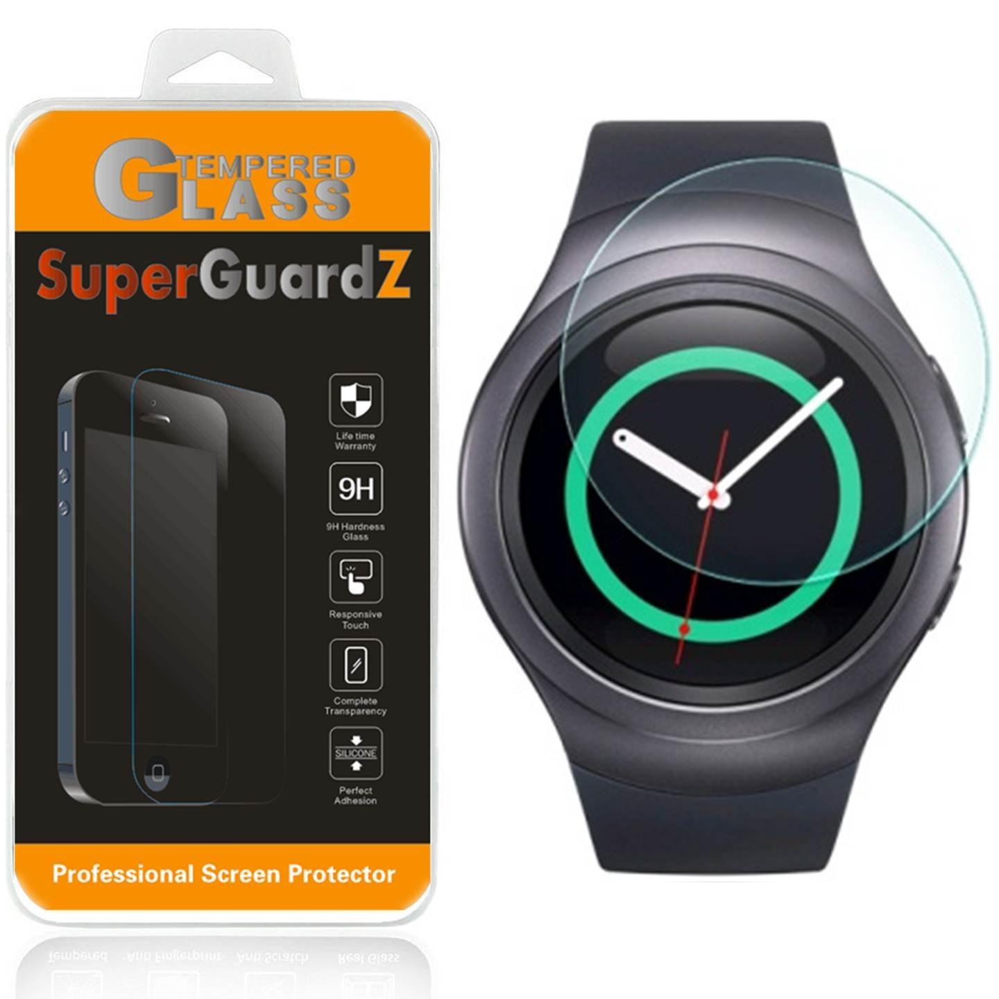 [3-Pack] For Samsung Gear S2 Classic - SuperGuardZ Tempered Glass Screen Protector, 9H, Anti-Scratch, Anti-Bubble, Anti-Fingerprint