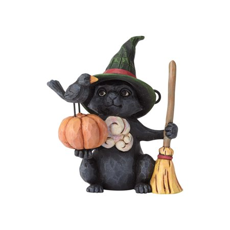 Jim Shore Halloween Mini Witch Cat with Pumpkin Resin Figurine New with - Jim Shore Halloween Figurines