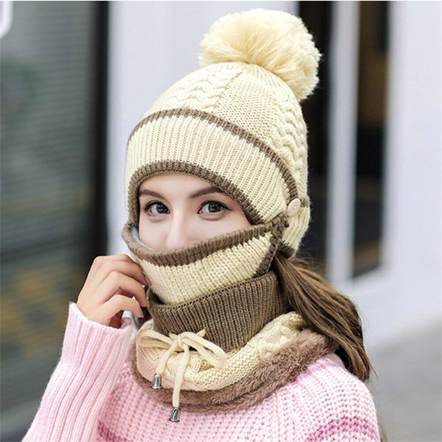 UMIPUBO 3 in 1 Winter Scarf Set Women Warm Scarf Set Thickend Knitted Beanie Hat Scarf Face Cover Pom Pom Cap Girls Warm Hat Earmuffs Cap for Indoor and Outdoor Sports