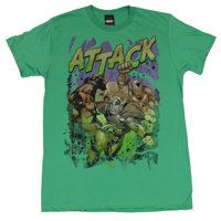 "Marvel Comics Mens T-Shirt - Water Colored ""Attack!"" Thor Spidey Iron Man Image"