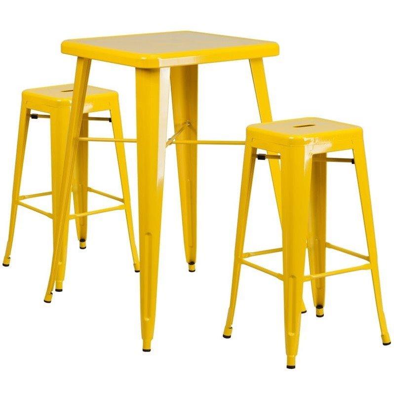 Flash Furniture Metal 3 Piece Bar Table Set in Yellow - image 7 de 7