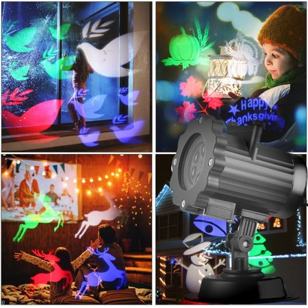 Halloween Christmas Projector Lights, 16 Slides Waterproof IP44 Outdoor Landscape Motion LED Projection Lights,Decoration Lighting on Holiday Birthday Wedding Party